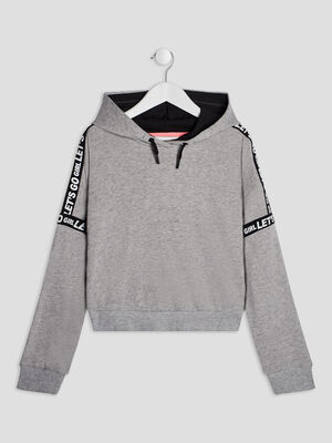 Sweat a capuche gris fille