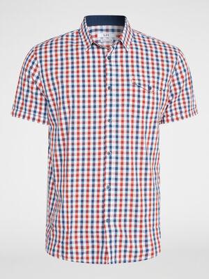 Chemise a carreaux en coton rouge homme