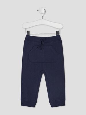 Pantalon jogging droit bleu marine bebeg