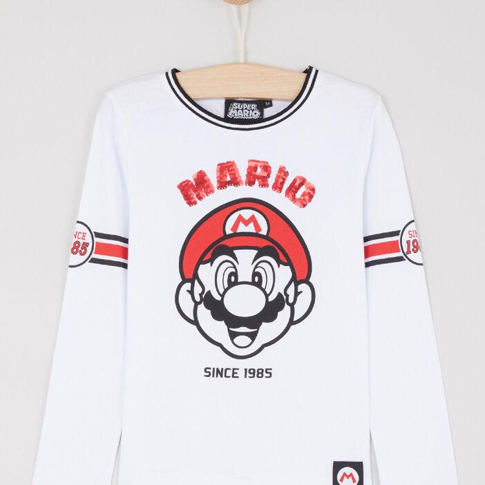 T-shirt manches longues garçon blanc