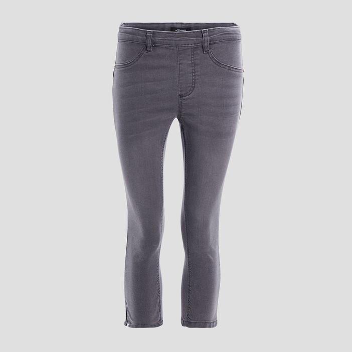 Pantacourt skinny en jean femme gris