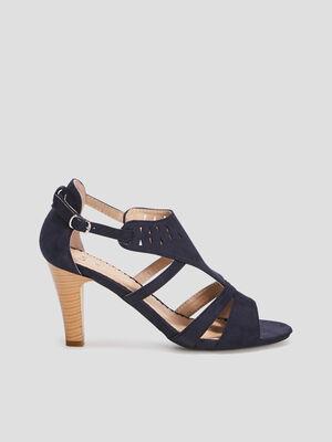 Sandales suedees cheville ajouree bleu femme