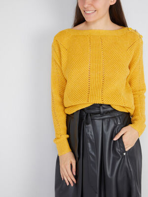 Pull col bateau a boutons jaune moutarde femme