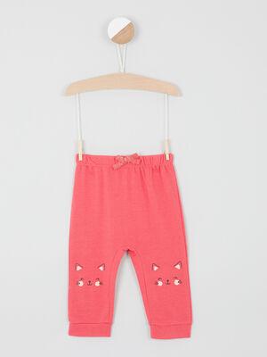 Pantalon broderies et details 3D rouge fille