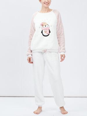 Pyjama long imprime matiere douce rose femme