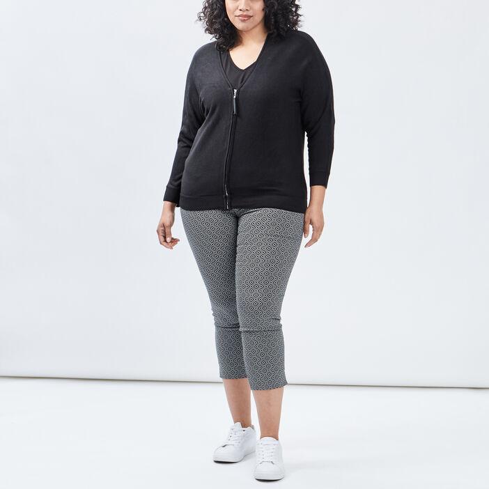 Pantalon ajusté 7/8ème femme grande taille noir