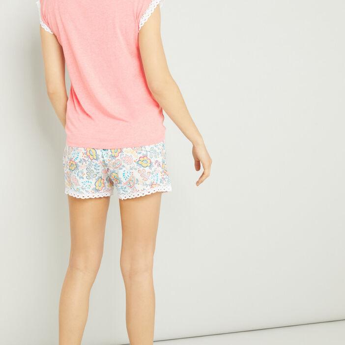 Pyjama 2 pièces short T-shirt femme orange corail