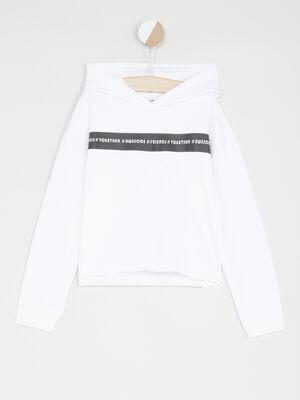 Sweatshirt a capuche bande imprimee blanc fille