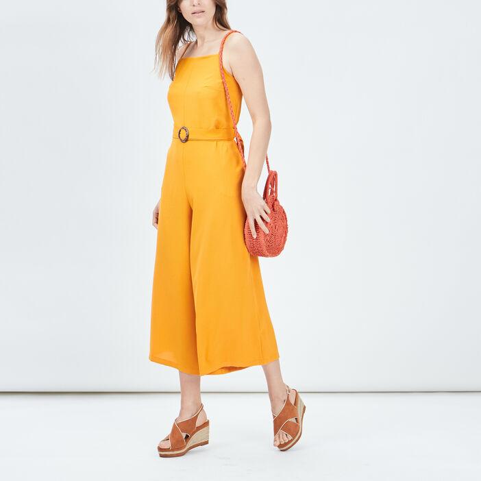 Combinaison pantalon ceinturée femme jaune moutarde
