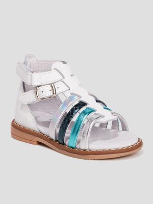 Sandales en cuir blanc bebef