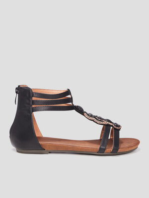 Sandales montantes noir femme