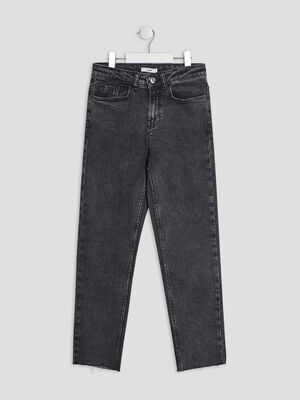 Jeans straight gris fonce fille