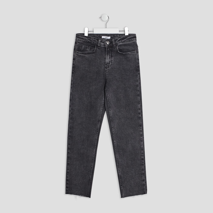 Jeans straight fille gris foncé