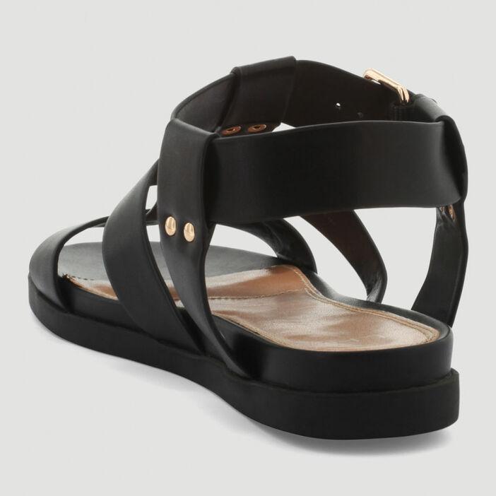 Sandales multibrides à boucle femme noir