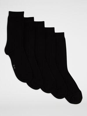 Lot 5 paires chaussettes hautes noir femme