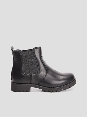 Bottines chelsea crantees noir fille
