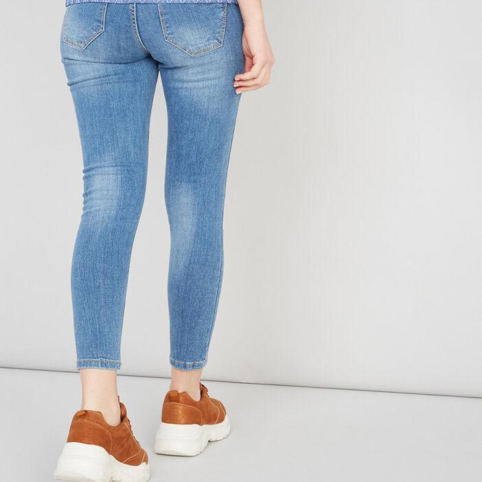 Jean coupe skinny coutures contrastées femme denim double stone