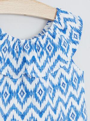 T shirt imprime col volante bleu fille