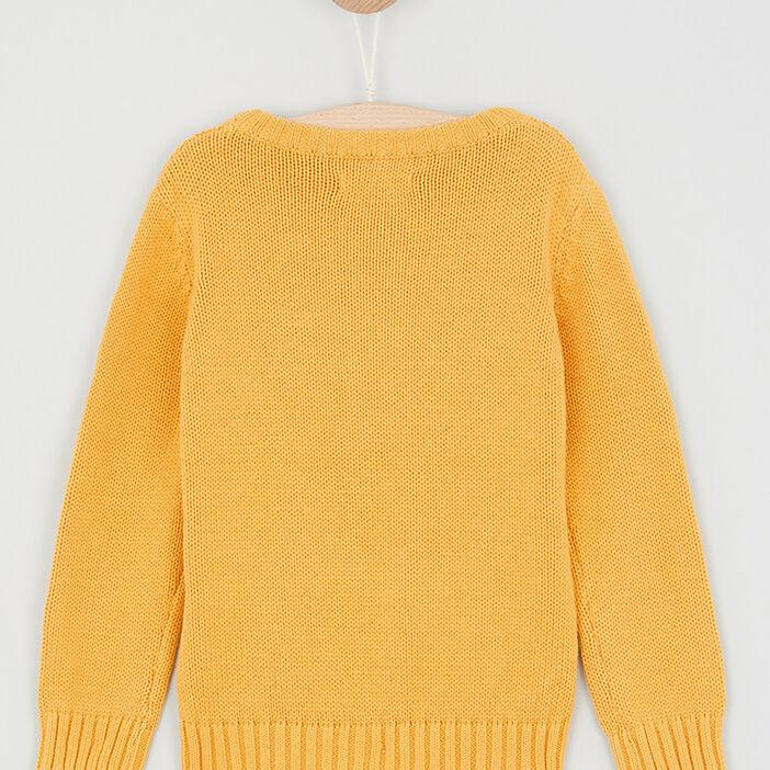 Pull coton torsades devant garçon jaune moutarde