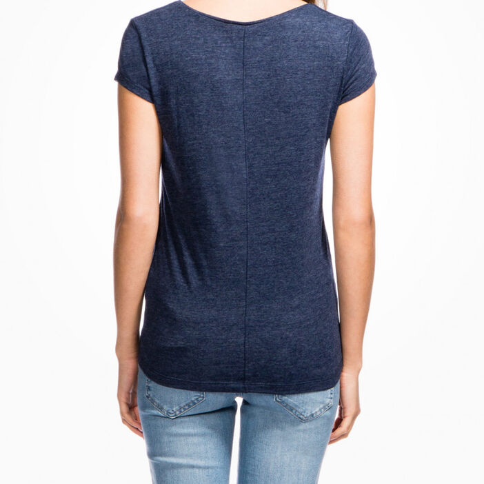 T-shirt chiné manches courtes femme bleu marine
