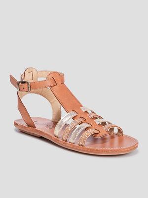 Sandales en cuir vert fille