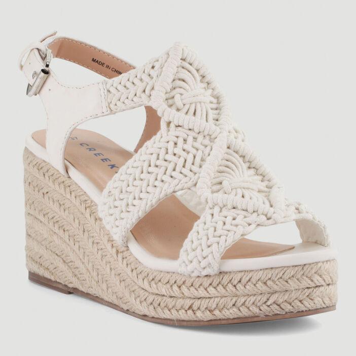 Sandales compensées dessus style crochet femme blanc