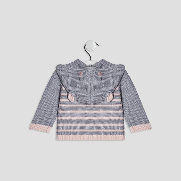 Gilet boutonné à capuche bébé fille gris