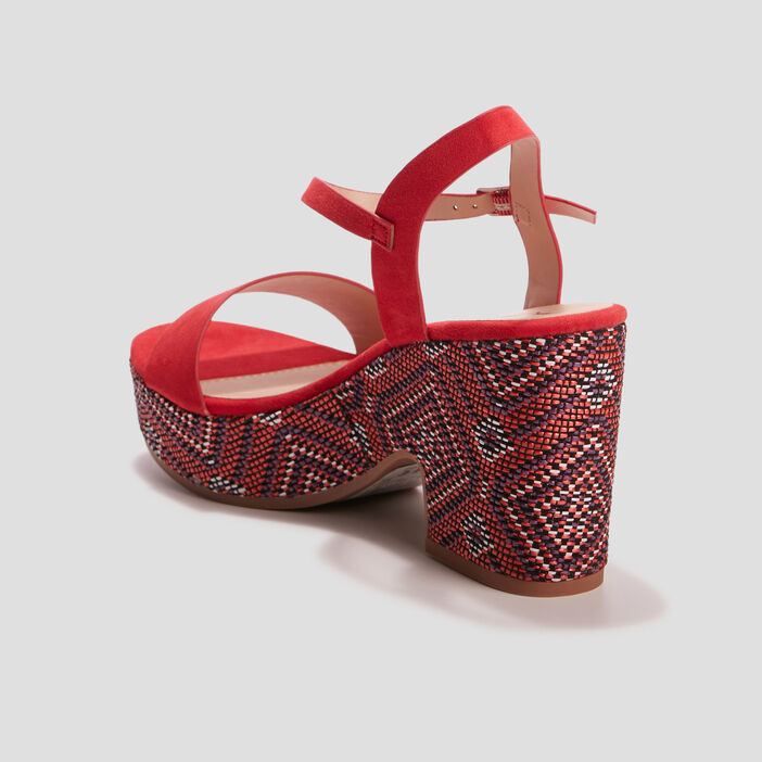 Sandales à talons Mosquitos femme rouge