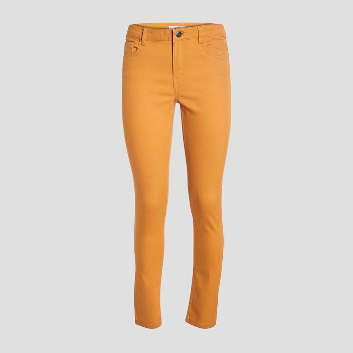 Pantalon skinny taille basse femme jaune foncé