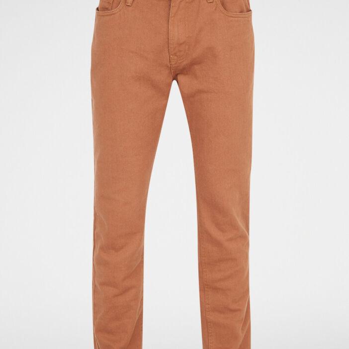 Pantalon regular coton uni homme marron clair