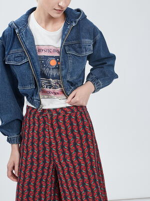 Veste ajustee en jean denim stone femme