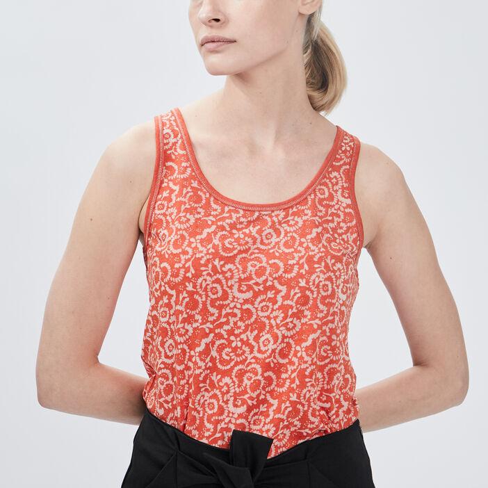 Débardeur bretelles larges femme orange