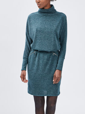 Robe pull droite ceinturee vert femme