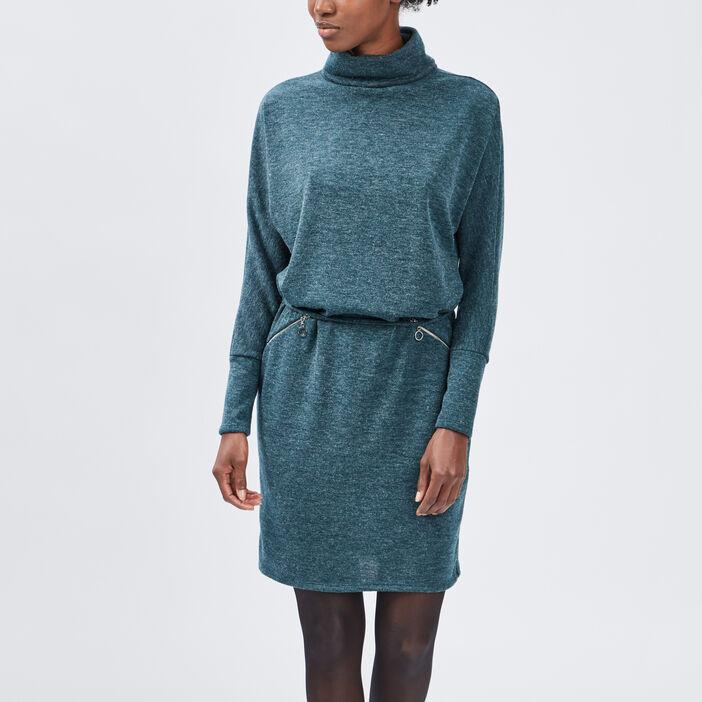 Robe pull droite ceinturée femme vert