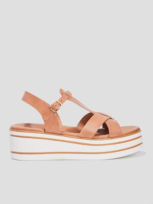 Sandales compensees en cuir beige fille