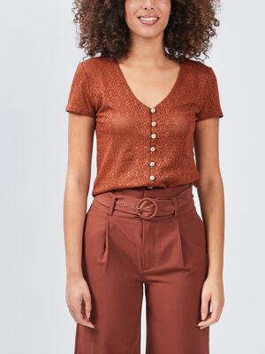 T shirt manches courtes marron femme