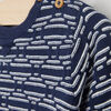 Pull boutonne a motifs geometriques bleu marine bebeg