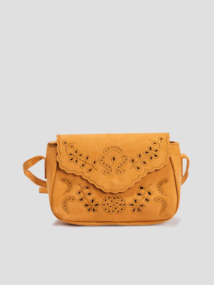 Sac besace perfore jaune femme