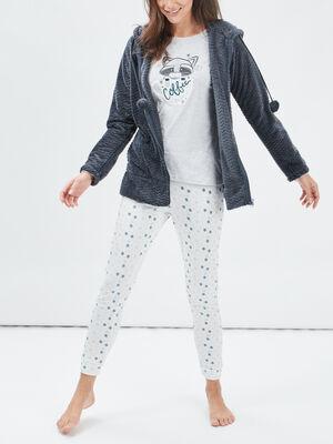 Gilet de pyjama a capuche gris clair femme