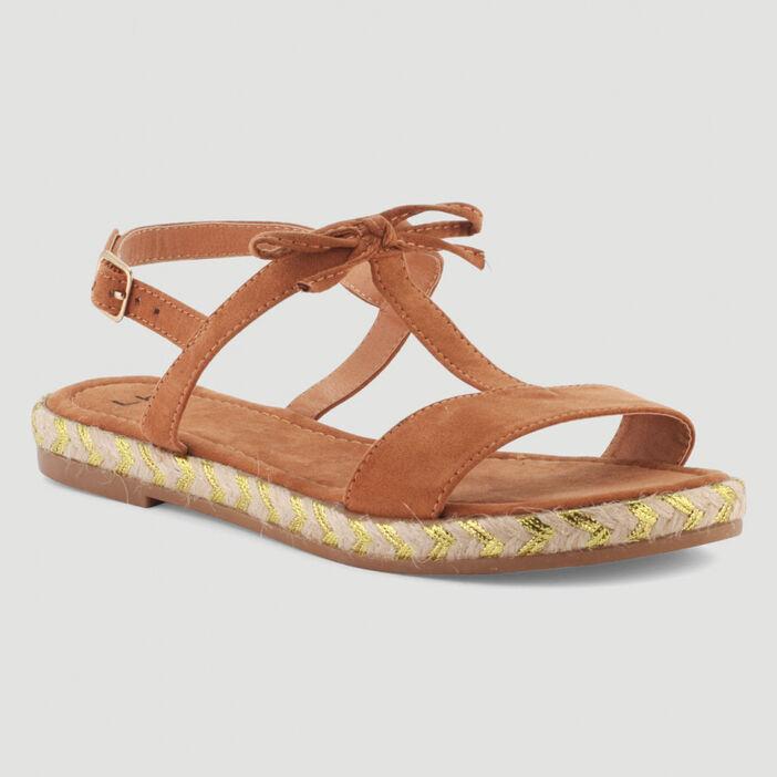 Sandales dorées motifs et boucle femme marron