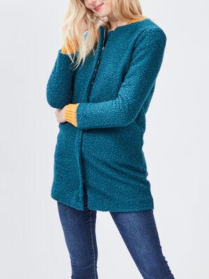 Manteau droit zippe bleu canard femme