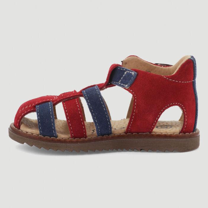 Sandales fermées en cuir bicolore bébé garçon rouge