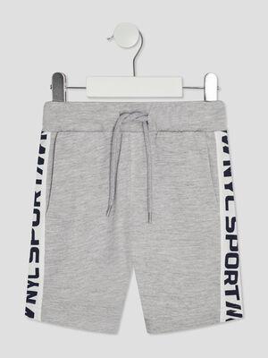 Short jogging droit a bandes gris garcon