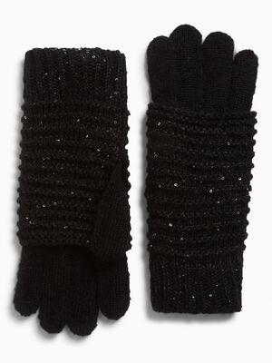 Gants pailletes maille fantaisie noir mixte