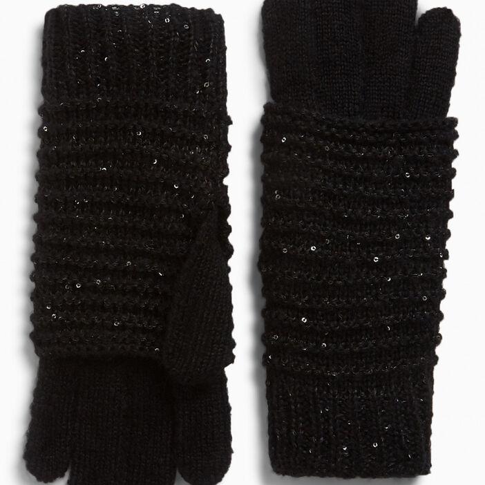 Gants pailletés maille fantaisie mixte noir