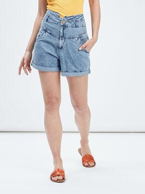 Short droit en jean bleu femme