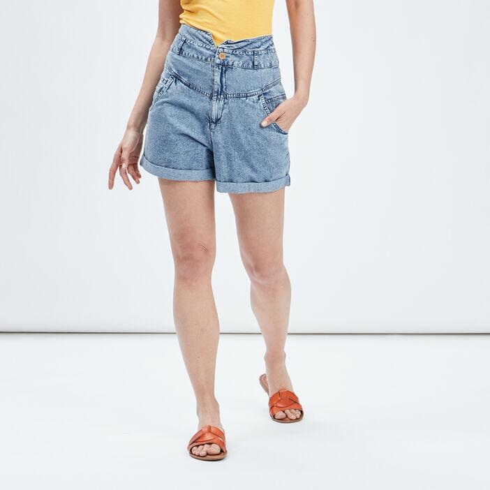 Short droit en jean femme bleu
