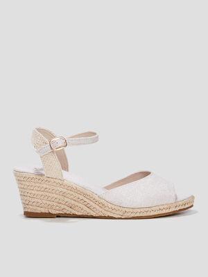 Sandales compensees beige femme