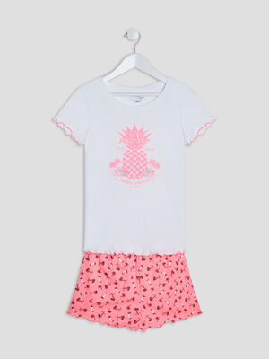 Ensemble de pyjama 2 pieces ecru fille