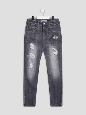 Jeans slim destroy Liberto gris garcon
